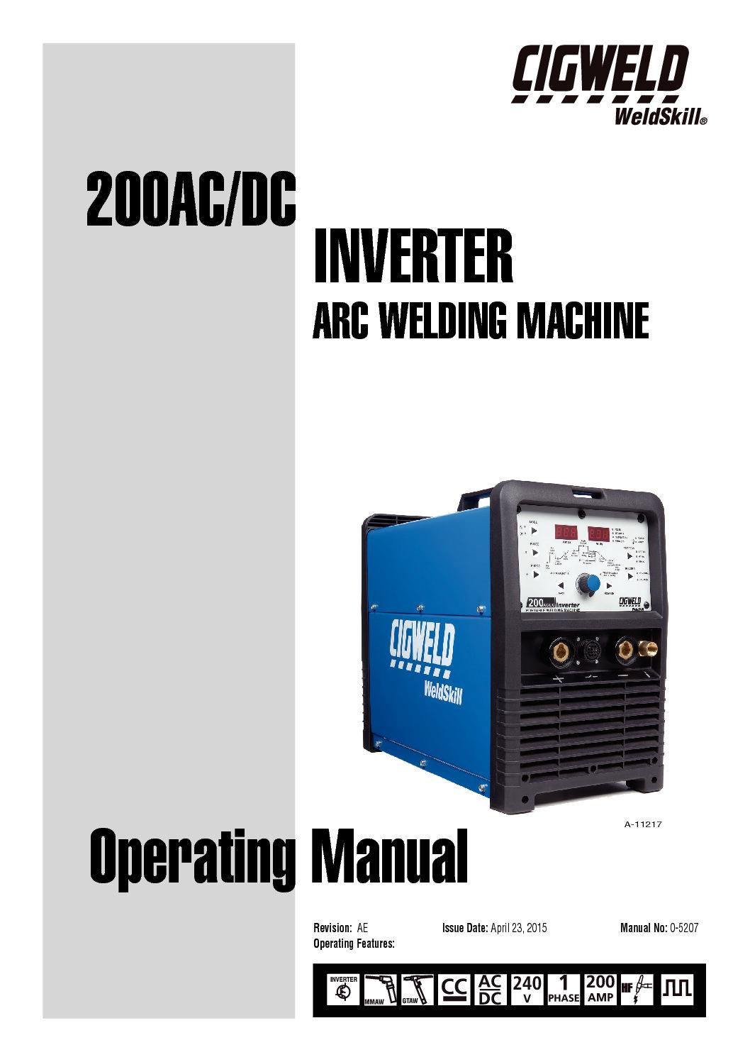 Weldskill 200 Ac Dc Cigweld Welding Plant Diagram Operating Manual