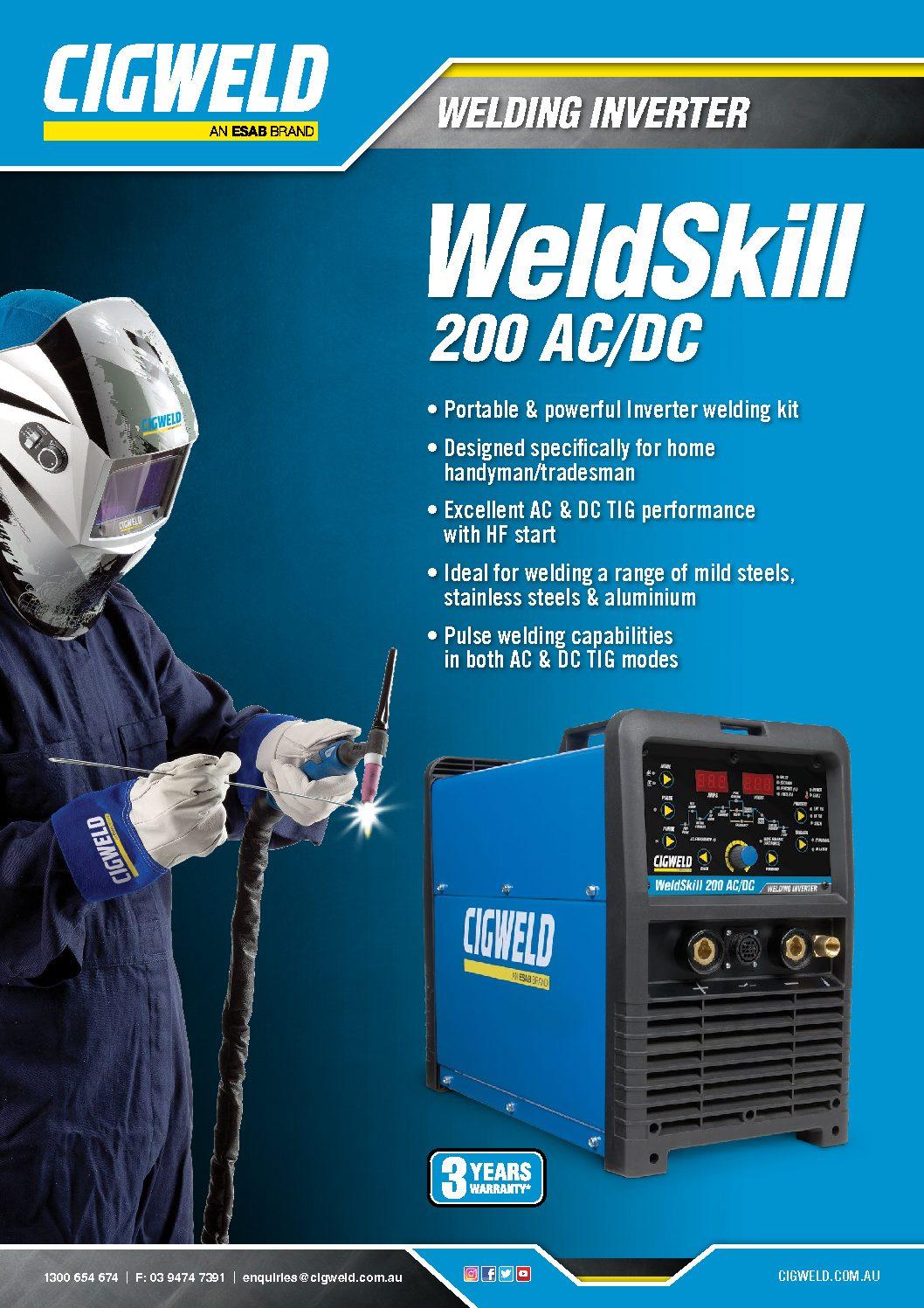Weldskill 200 Ac Dc Cigweld Tig Welding Handpiece Diagram Brochure