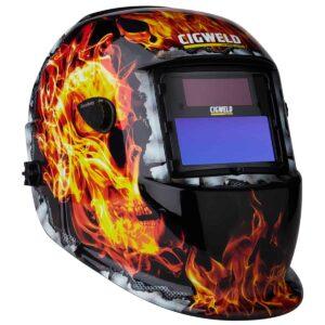 WeldSkill Auto Darkening Helmet Flaming Skull